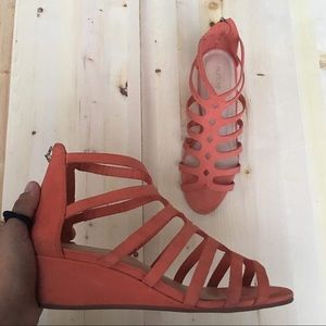 Nurture Coral  Wedge Sandals
